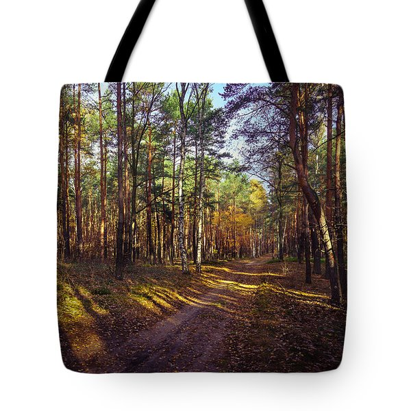 Country Road Through The Forest Tote Bag