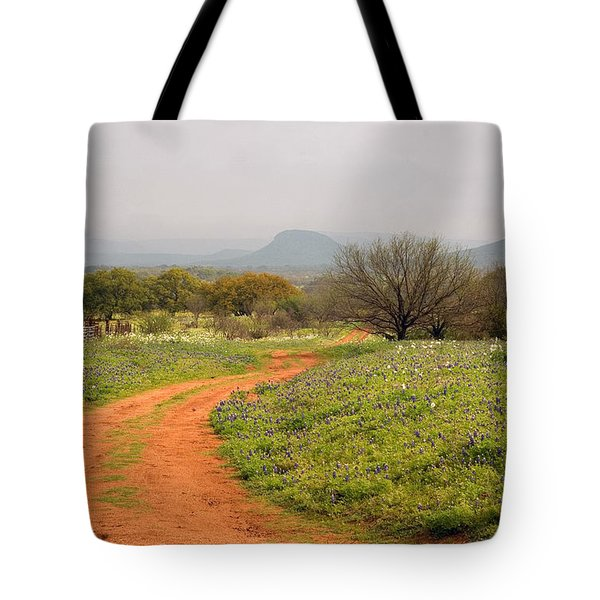Country Road With Wild Flowers Tote Bag