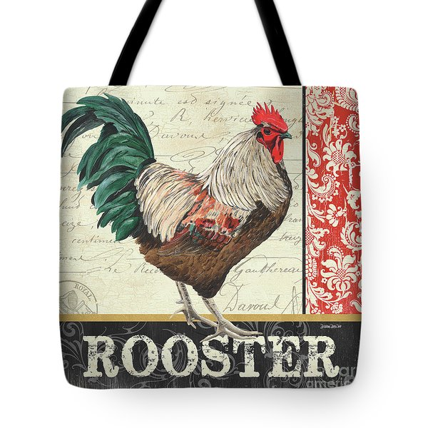 Tote Bag featuring the painting Country Rooster 1 by Debbie DeWitt