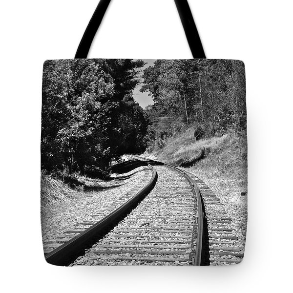 Country Tracks Black And White Tote Bag