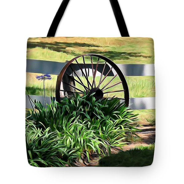 Country Wagon Wheel Tote Bag