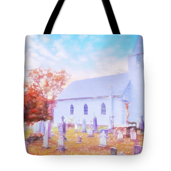 Country White Church And Old Cemetery. Tote Bag