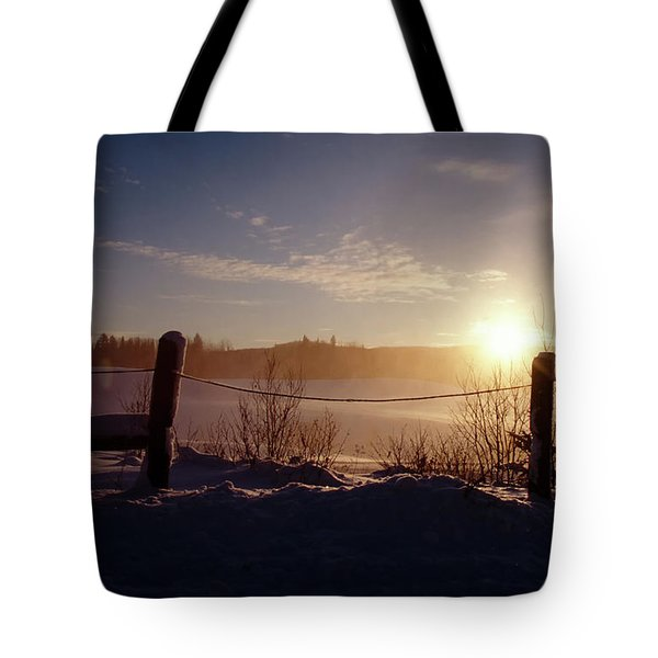 Country Winter Sunset Tote Bag