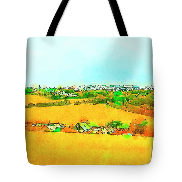 Tote Bag featuring the digital art countryside  in Cornwall, UK by Ariadna De Raadt