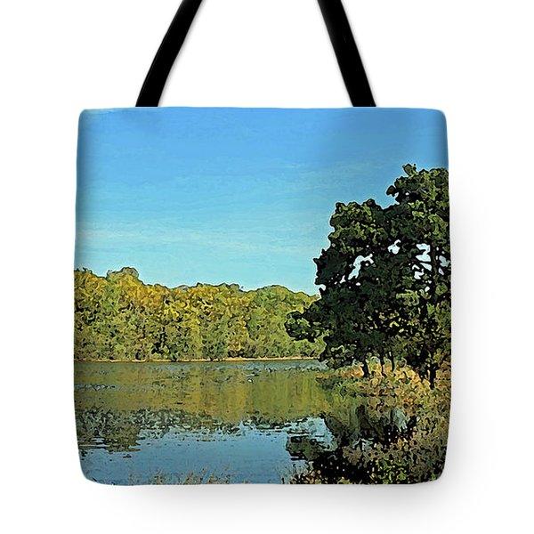 Countryside Netherlands, Lakes, Meadows, Trees, Digital Art. Tote Bag