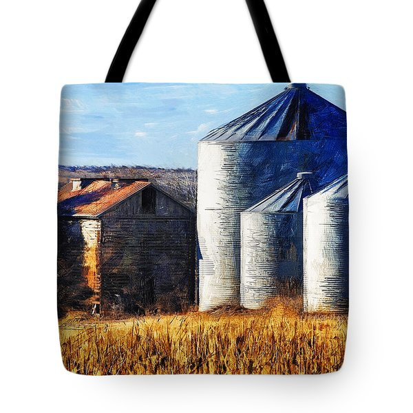 Countryside Old Barn And Silos Tote Bag