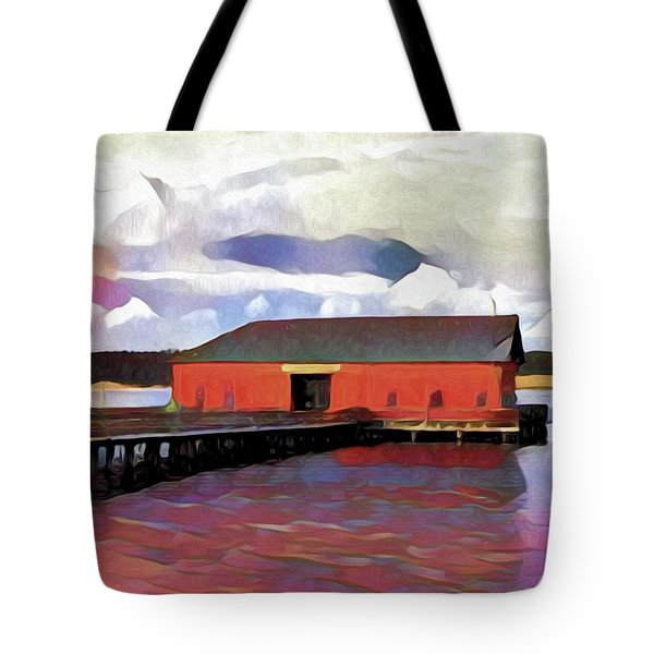 Coupeville Wharf Painterly Effect Tote Bag