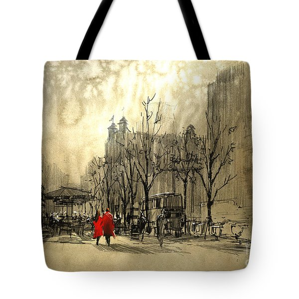 Couple In City Tote Bag
