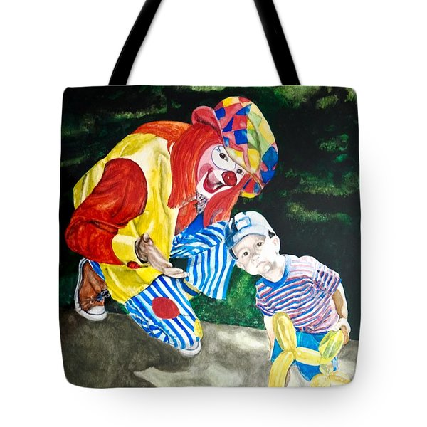 Couple Of Clowns Tote Bag by Lance Gebhardt