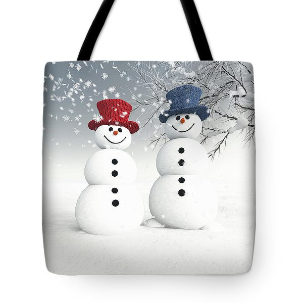 Couple Of Snowmen Tote Bag