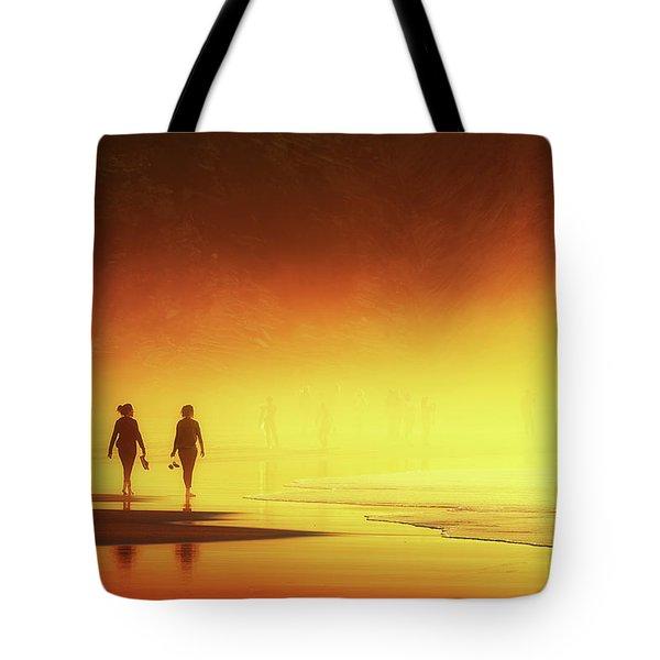 Couple Of Women Walking On Beach Tote Bag
