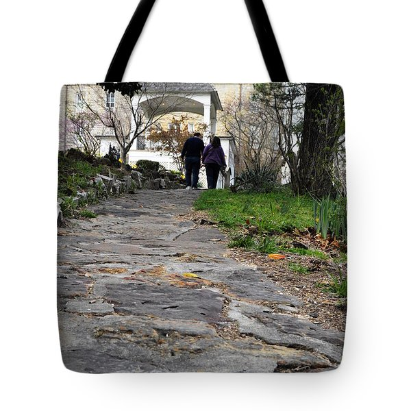 Tote Bag featuring the photograph Couple On A Garden Path by W And F Kreations