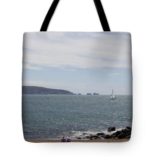 Couple Relaxing  Enjoying The View Tote Bag by Gillian Dernie