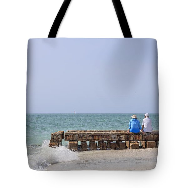 Couple Sitting On An Old Jetty Siesta Key Beach Florida Tote Bag by Edward Fielding