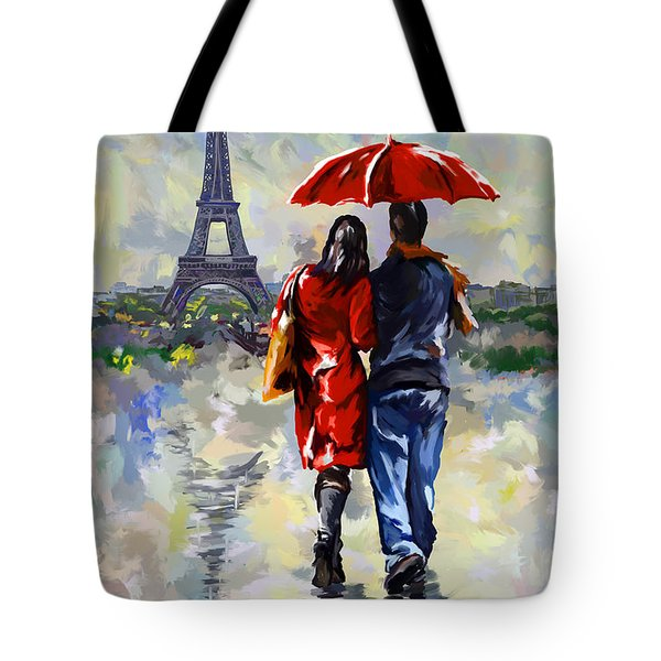 couple walking in the rain Paris Tote Bag