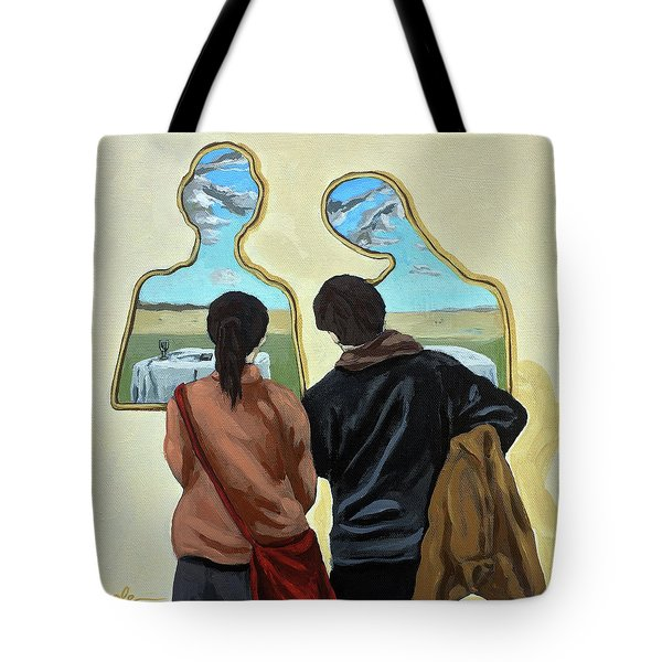 Couple With Their Heads Full Of Clouds Tote Bag