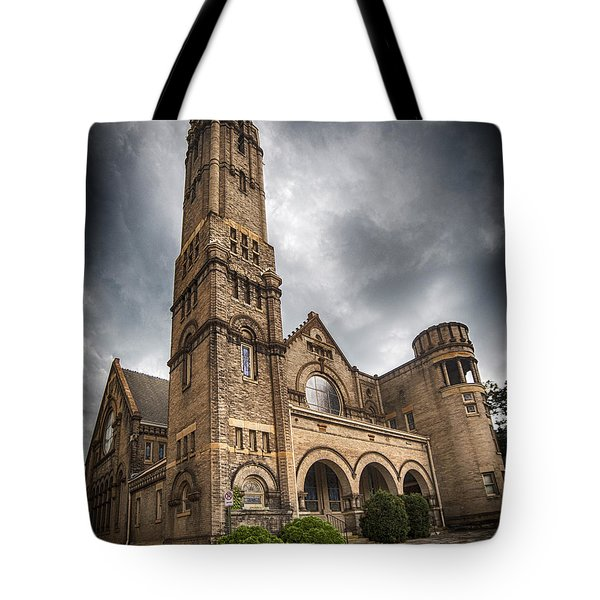 Court Street Umc Lynchburg Tote Bag by Alan Raasch