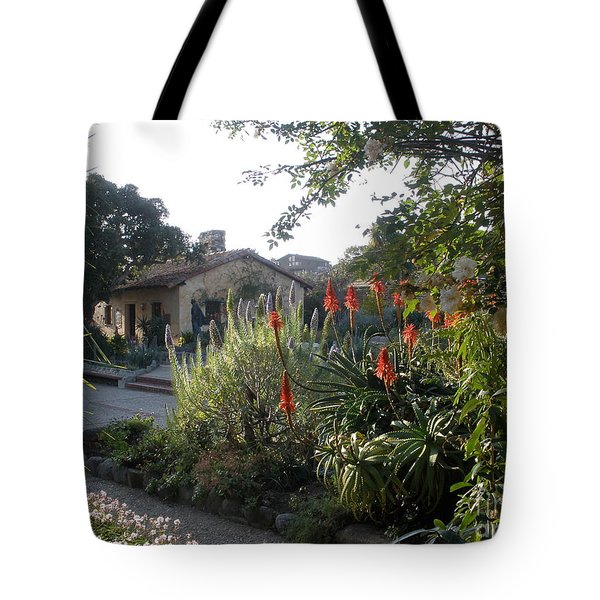 Court Yard At Mission Carmel Tote Bag