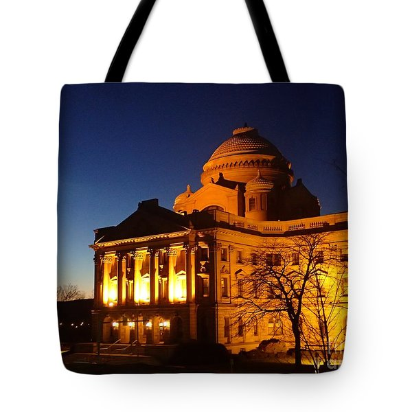Courthouse At Night Tote Bag by Christina Verdgeline
