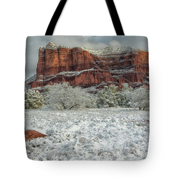 Courthouse In Winter Tote Bag by Tom Kelly