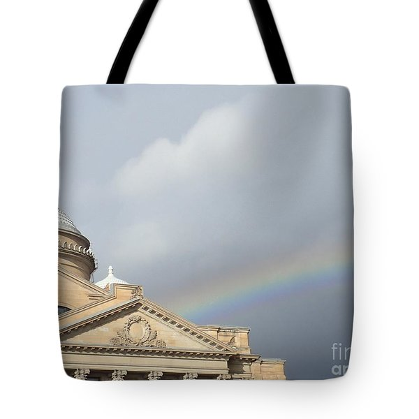 Courthouse Rainbow Tote Bag by Christina Verdgeline