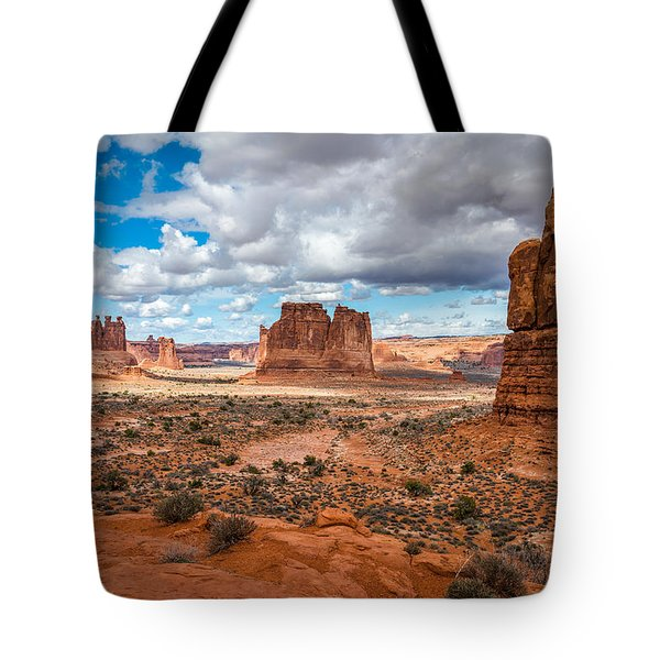 Courthouse Towers At Arches National Park Tote Bag