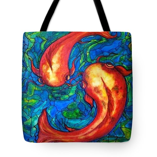 Tote Bag featuring the painting Courtship  by Rae Chichilnitsky