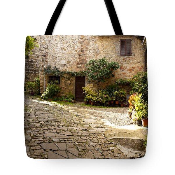 Courtyard In Montefioralle Tote Bag by Rae Tucker