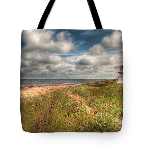 Covehead Lighthouse Tote Bag by Elisabeth Van Eyken