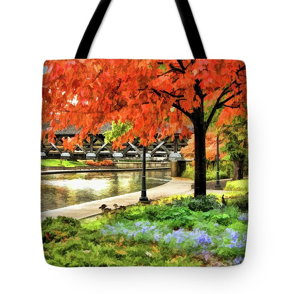 Tote Bag featuring the painting Covered Bridge Along Riverwalk by Christopher Arndt