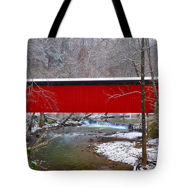 Covered Bridge Along The Wissahickon Creek Tote Bag by Bill Cannon