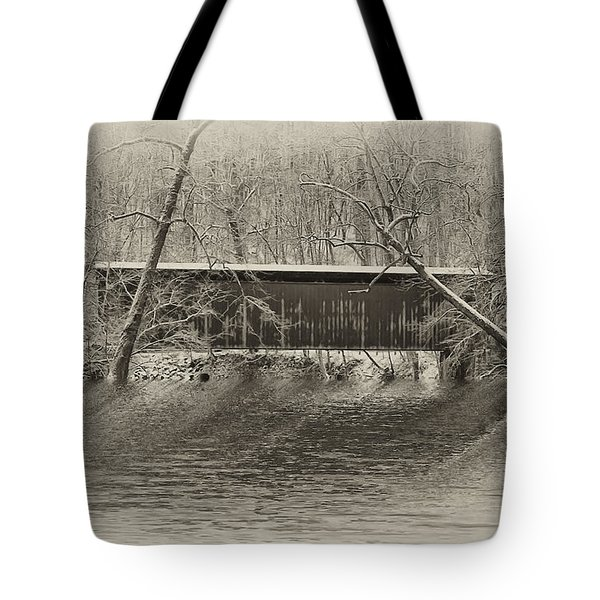 Covered Bridge In Black And White Tote Bag by Bill Cannon