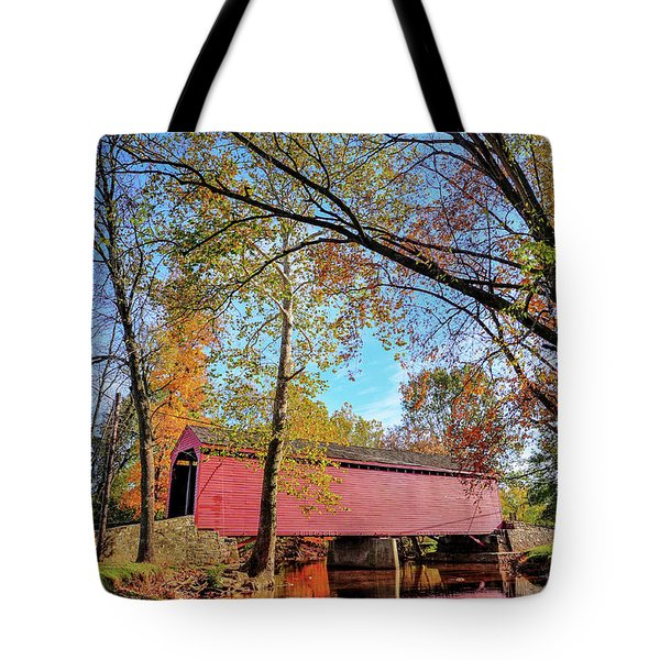 Covered Bridge In Maryland In Autumn Tote Bag