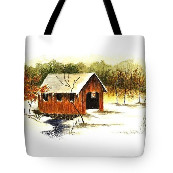 Covered Bridge In The Snow Tote Bag by Michael Vigliotti