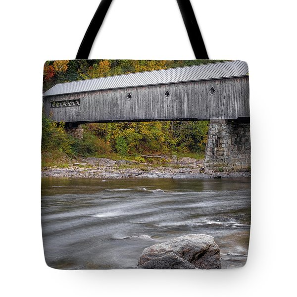 Tote Bag featuring the photograph Covered Bridge In Vermont With Fall Foliage by Robert Bellomy