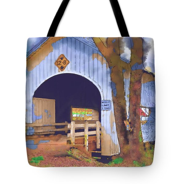 Tote Bag featuring the digital art Covered Bridge In Watercolor by Kirt Tisdale