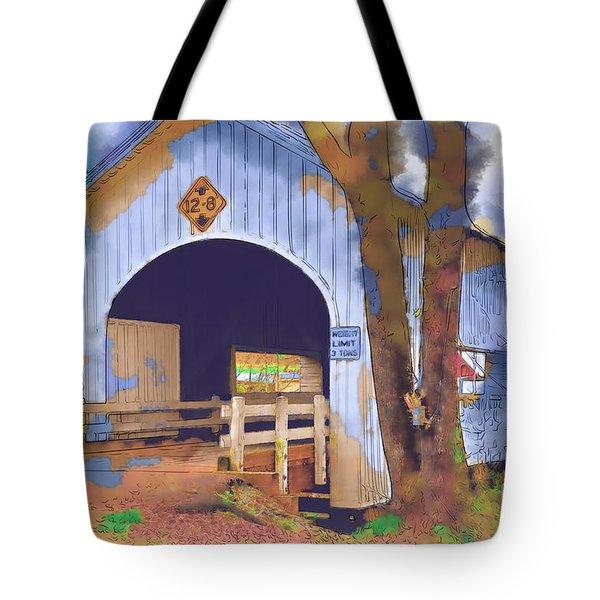 Covered Bridge In Watercolor Tote Bag