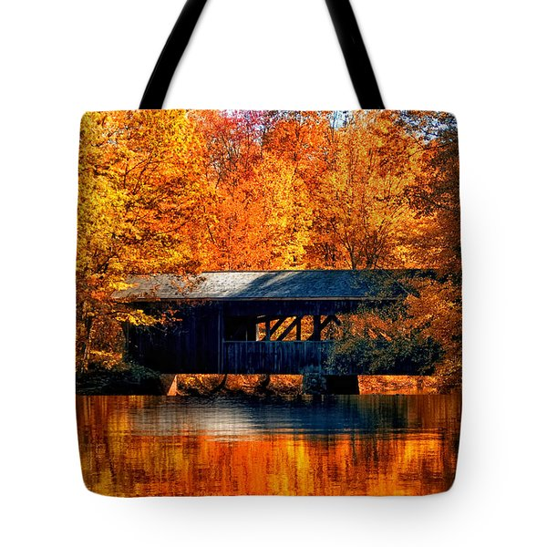 Covered Bridge Tote Bag by Joann Vitali