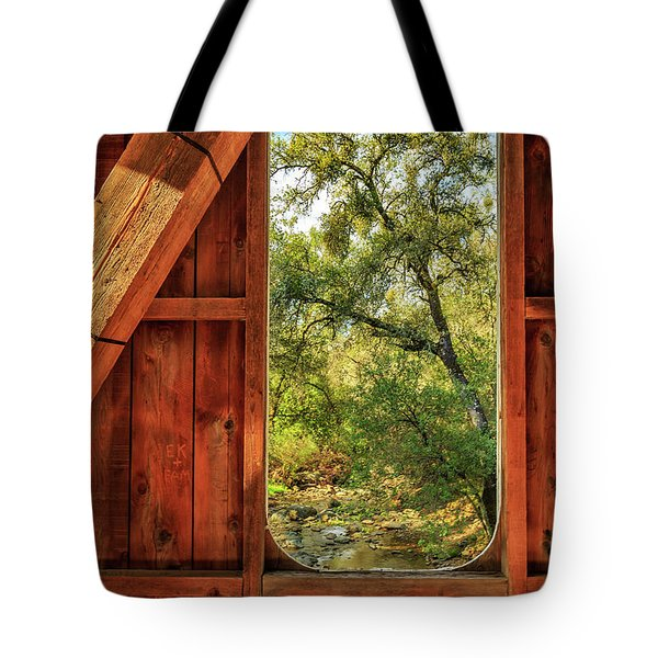 Tote Bag featuring the photograph Covered Bridge Window by James Eddy