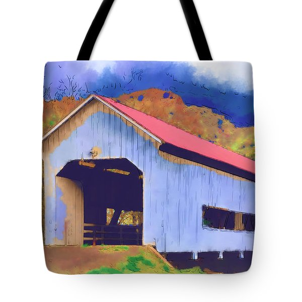 Tote Bag featuring the digital art Covered Bridge With Red Roof by Kirt Tisdale