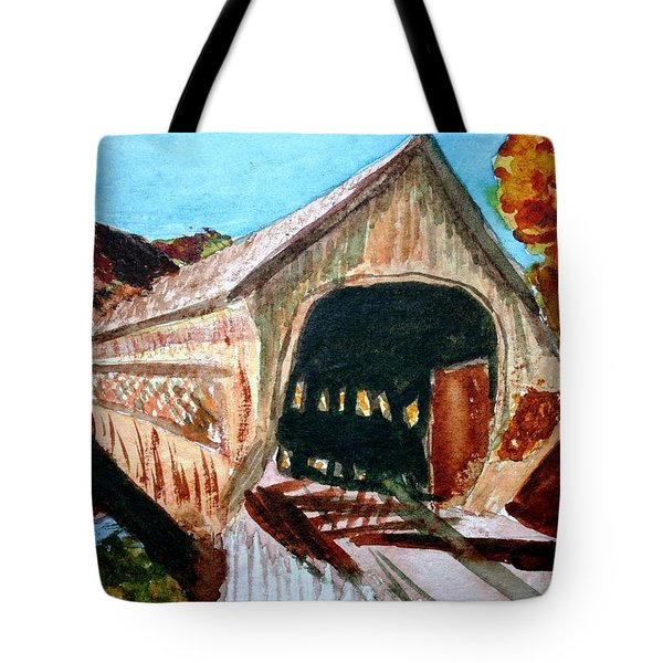 Tote Bag featuring the painting Covered Bridge Woodstock Vt by Donna Walsh