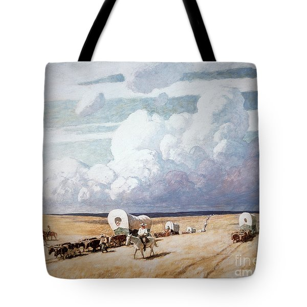 Covered Wagons Heading West Tote Bag by Newell Convers Wyeth