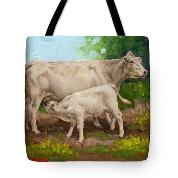 Cow  And Calf In Miniature  Tote Bag