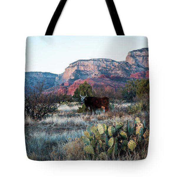 Cow At Red Rock Tote Bag