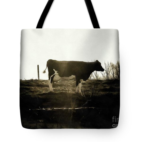 Tote Bag featuring the photograph Cow - Black And White - Profile by Janine Riley