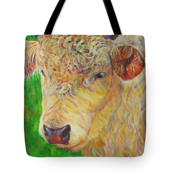 Cute And Curly Cow Tote Bag