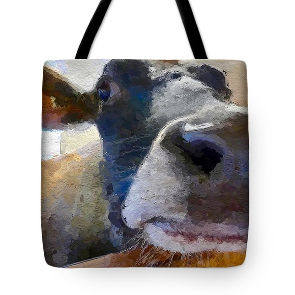 Cow Face Close Up Tote Bag