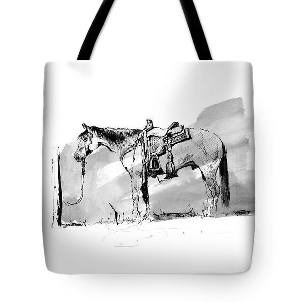 Cow Horse Hitched Tote Bag