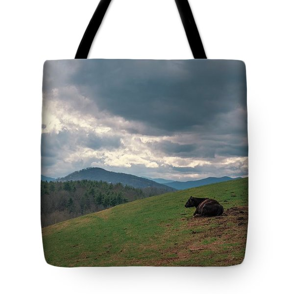 Cow In Pasture Tote Bag