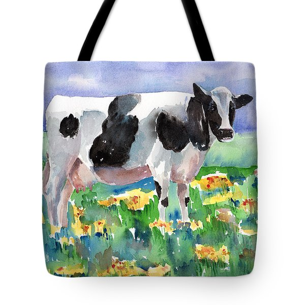 Cow In The Meadow Tote Bag